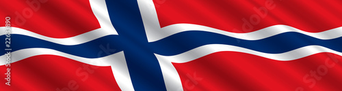 Photo Norwegian Flag in the Wind