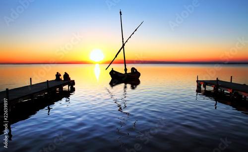Fotobehang Pier mar azul