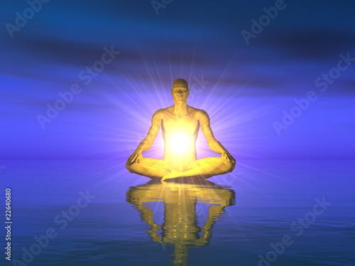 Doppelrollo mit Motiv - Wasser Meditation - Gold Blau (von styleuneed)