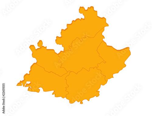 Carte Region Paca.Carte Paca Region France Orange En Relief Vierge Ou Vide
