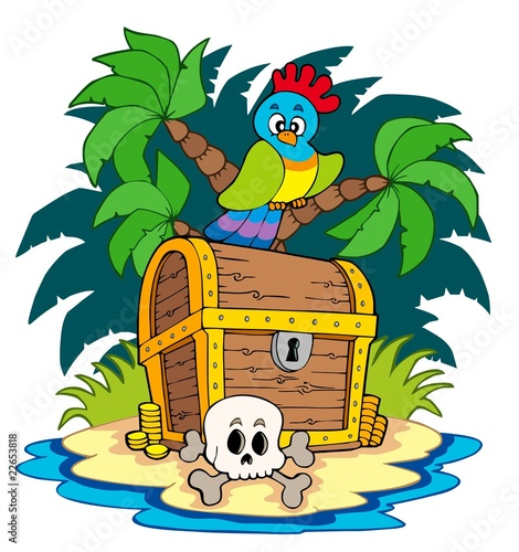 Ingelijste posters Piraten Pirate island with treasure chest