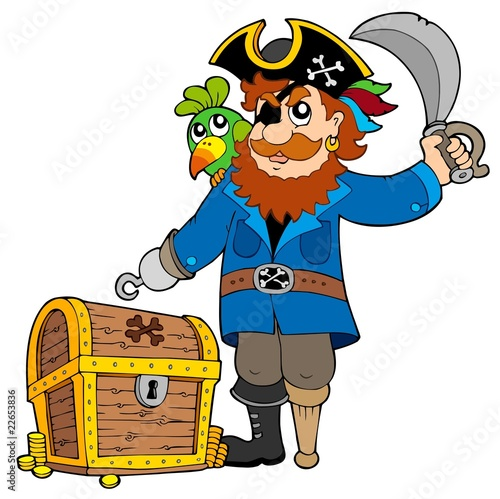 Ingelijste posters Piraten Pirate with old treasure chest