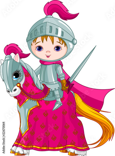 Door stickers Superheroes The Brave Knight on the horse