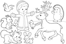 Snow Maiden And Her Animals