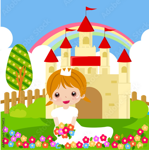 Poster Castle Princess with flowers.