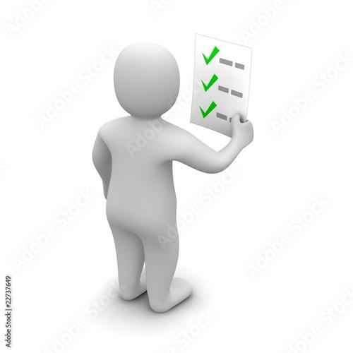 Fotografia  Man looking at checklist. 3d rendered illustration.