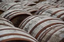 Whisky Barrels In A Distillery
