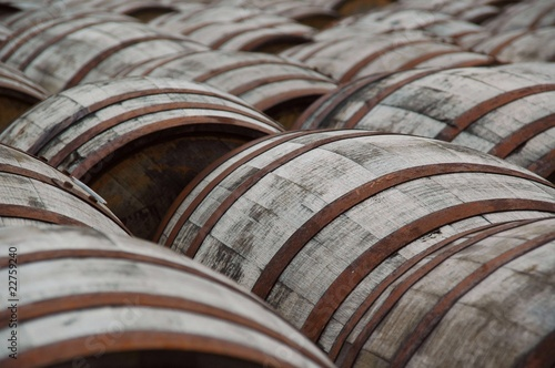 Leinwand Poster Whisky barrels in a distillery