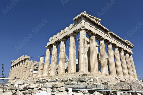 Poster Athene Parthenon temple at the Acropolis of Athens in Greece
