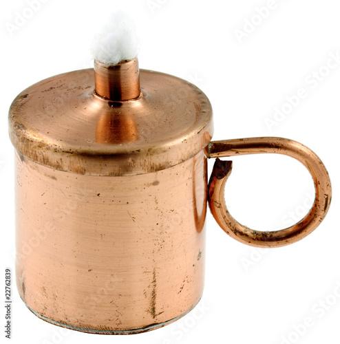 Mini Lampe A Petrole En Cuivre Fond Blanc Buy This Stock Photo