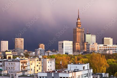 Naklejka premium City Of Warsaw Downtown Skyline W Polsce