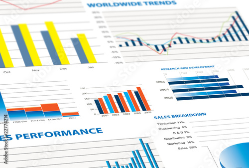 Tela sales performance and business graphs