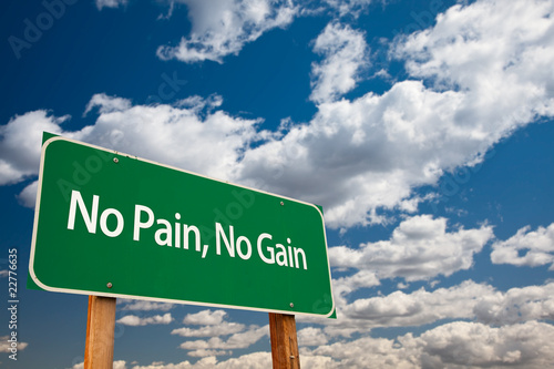 Fotografie, Obraz  No Pain, No Gain Green Road Sign