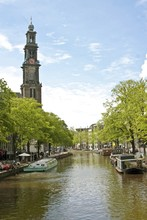 Amsterdam With The 'Westerkerk' In The Netherlands