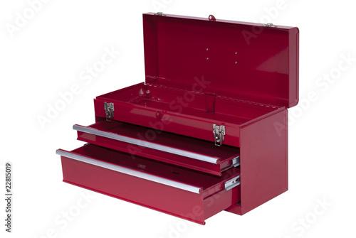 Fototapeta red metal tool box with three obraz na płótnie