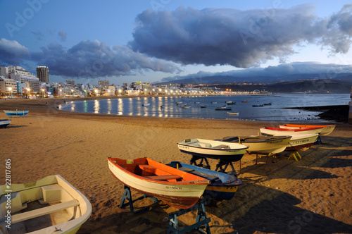 Fishing boats on the beach. Las Palmas de Gran Canaria