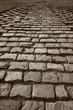 A cobblestone old road