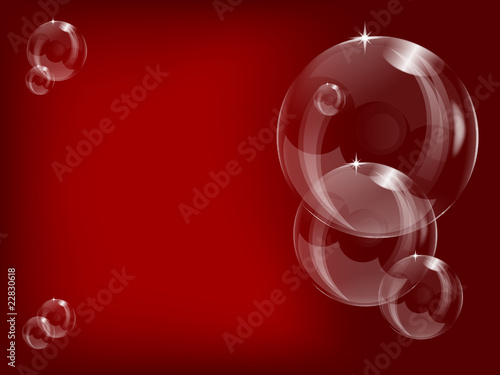 A series of transparent bubbles  on a red  background - 22830618