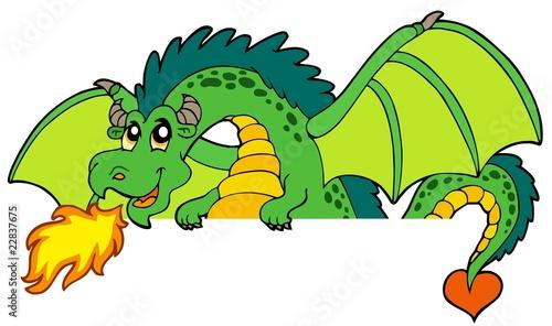 Aluminium Prints Pirates Giant green lurking dragon
