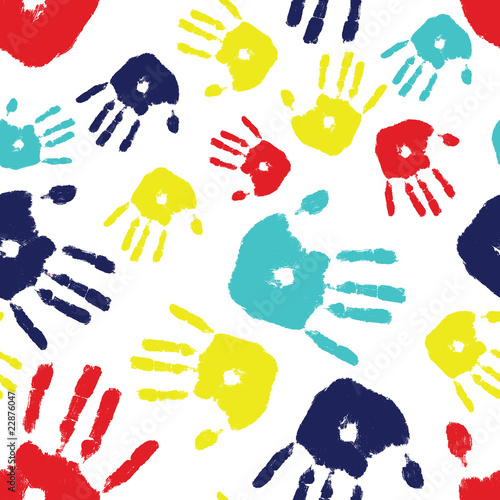 Fotografia, Obraz  Autism Handprint Seamless Tile