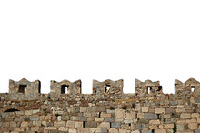 Isolated Castle Wall Battlements Of Kos Castle