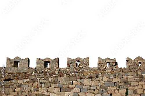 Isolated castle wall battlements of Kos Castle Canvas Print