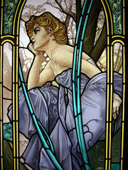Panel SzklanyMucha's Woman