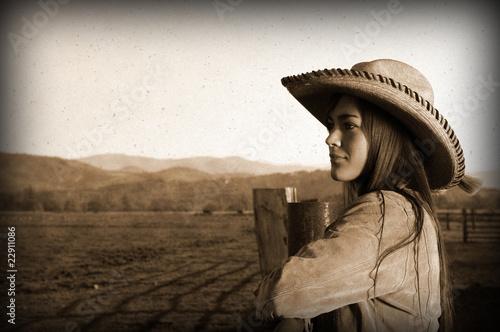 Fotografie, Obraz  Vintage cowgirl