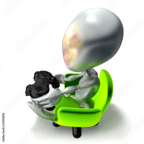 elliott 056, console, joueur, jeu vidéo, geek, manette, vert Poster