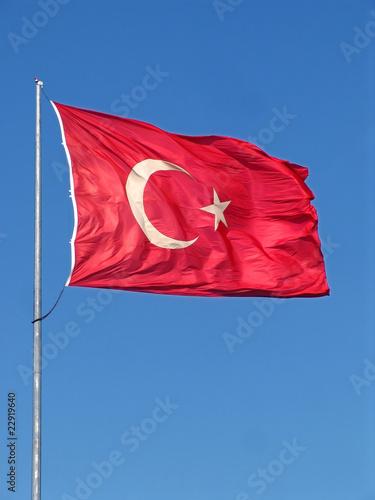 Photo Turkish flag and blue sky