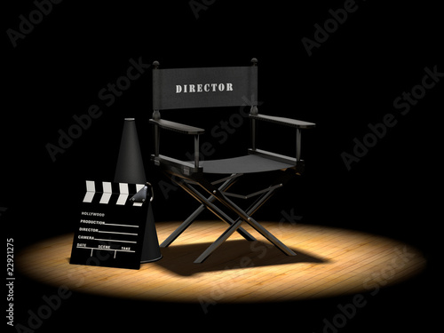 Fototapeta Director's Chair Under Spotlight