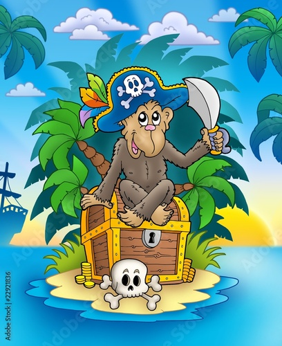Spoed Fotobehang Piraten Pirate monkey on treasure island