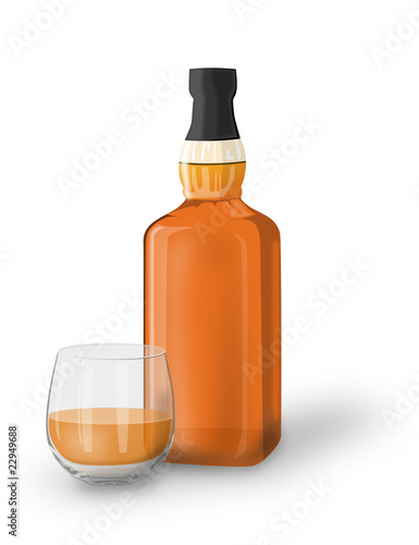 whiskey bottle and glass Wallpaper Mural