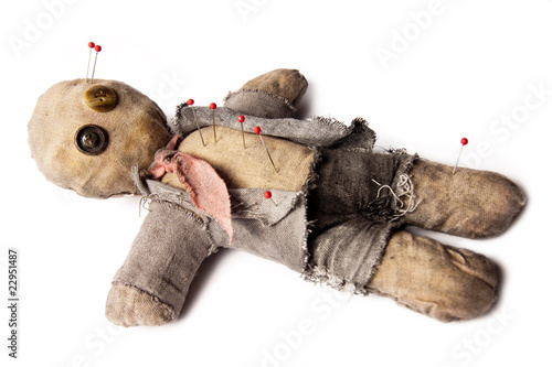 Fotografie, Obraz  Photo of Businessman voodoo doll laying on white