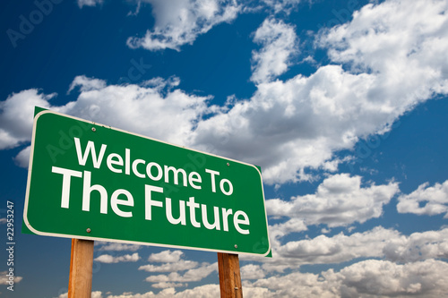 Fotografie, Obraz  Welcome To The Future Green Road Sign