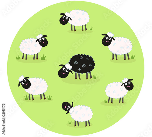 One black sheep is lonely in the middle of white sheep family Wallpaper Mural