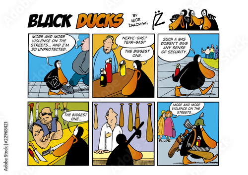 Foto op Plexiglas Comics Black Ducks Comic Strip episode 43