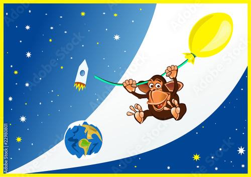 Foto op Canvas Kosmos Обезьянка на воздушном шаре в космосе