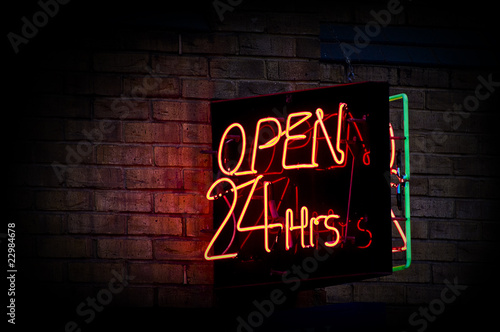 Fotografia, Obraz  open 24 hours