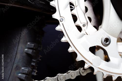 Fototapeta Gear and tire of mountain bike obraz