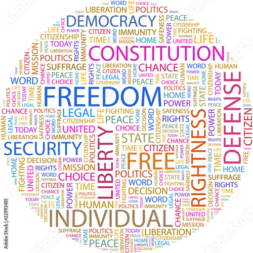 Word cloud concept illustration of freedom association terms