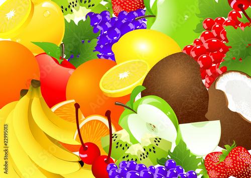 Poster Oiseaux, Abeilles Fruit abundance