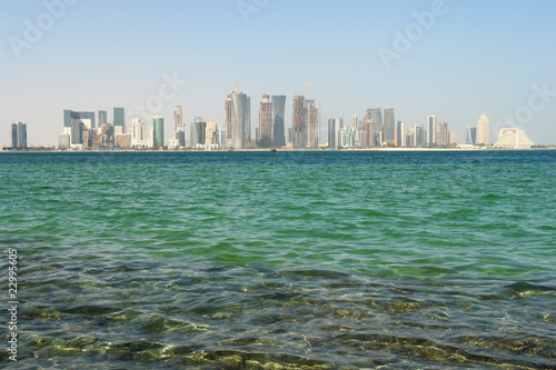 Canvas Prints Abu Dhabi Doha Qatar - Skyscrapers in corniche area