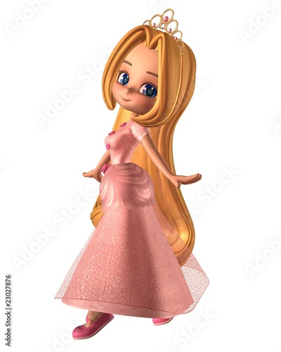 Fotografie, Obraz  Pretty Pink Toon Princess