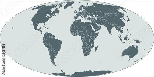 Weltkarte World Map Mollweide Projektion Buy This Stock