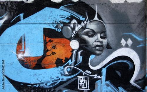 Obraz na plátně reine d'afrique,beauté noire en tag et graffiti