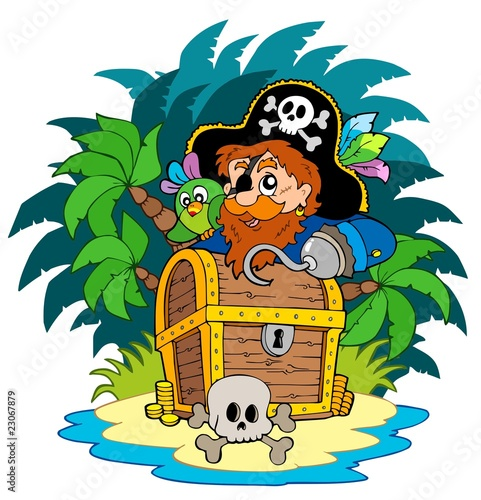 Poster de jardin Pirates Small island and pirate with hook