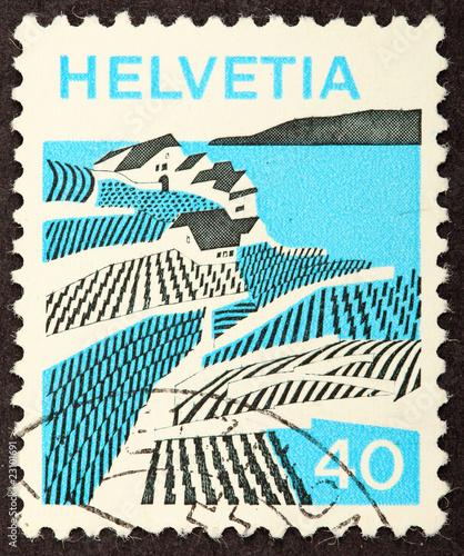 Fotografie, Obraz  Helvetia Stamp