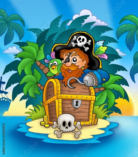 Ingelijste posters Piraten Small island with pirate and chest