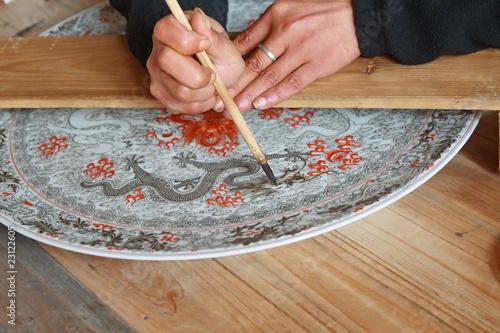 Fotografie, Obraz  draw porcelain